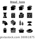 Bread, Loaf, Bakery & Pastry icon set 36061875