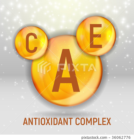 Vitamin A, C, E  Icon. Antioxidant Complex. Vecto 36062776
