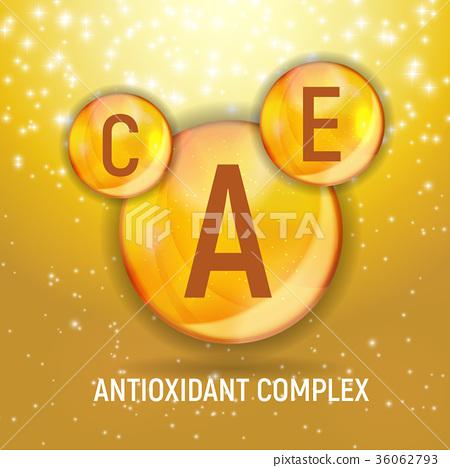 Vitamin A, C, E  Icon. Antioxidant Complex. Vecto 36062793