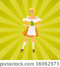 Smiling German Waitress Wears Traditional Costume 36062973
