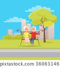 Happy Grandparents Day Senior Couple on Bench 36063146