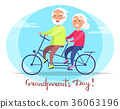 Grandparents Day Senior Couple on Bicycle Vector 36063196