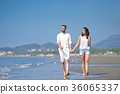 Young happy couple on white beach at summer 36065337
