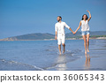 Young happy couple on white beach at summer 36065343