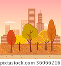 Autumn Park Represented on Vector Illustration 36066216