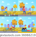 Family Activities in Park Vector Illustration 36066219