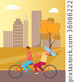 Couple Riding Bicycle in Park Vector Illustration 36066222