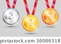Three Medals Vector Illustration on Transparent 36066318