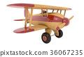 Wooden toy airplane. 3D render 36067235