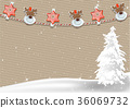 Christmas Background with Clothespin Decoration 36069732