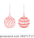 Vector set of red hand drawn Christmas ball toy 36071717