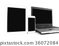 Smartphone and a tablet and a laptop on the white 36072084