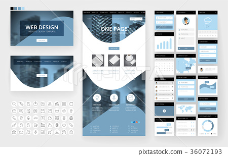 Website design template and interface elements 36072193