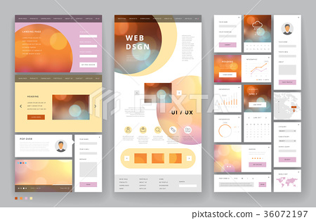 Website template design with interface elements 36072197