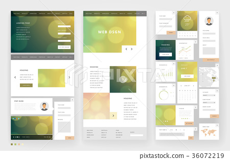 Website template design with interface elements 36072219