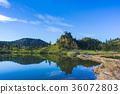 가을, 연못, 푸른 36072803