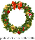 Vector Christmas Wreath with Mistletoe 36073004