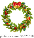 Vector Fir Wreath with Red Mistletoe 36073010