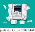 Pile of paper documents and printer 36073440