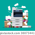Pile of paper documents and printer 36073441