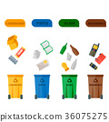 Different recycling garbage waste types sorting 36075275