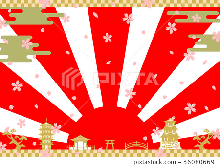 新年城堡櫻桃日出背景 36080669