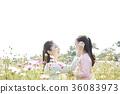 母親,女兒,公園 36083973