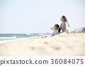 母親,女兒,旅行,海 36084075