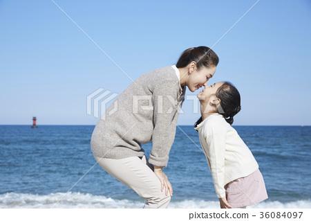 母親,女兒,旅行,海 36084097
