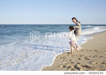 엄마,딸,여행,바다 36084256