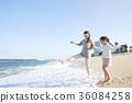 母親,女兒,旅行,海 36084258
