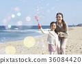 母親,女兒,旅行,海 36084420