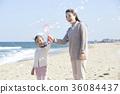 母親,女兒,旅行,海 36084437