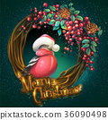 Merry Christmas wreath ash berry and bullfinch 36090498