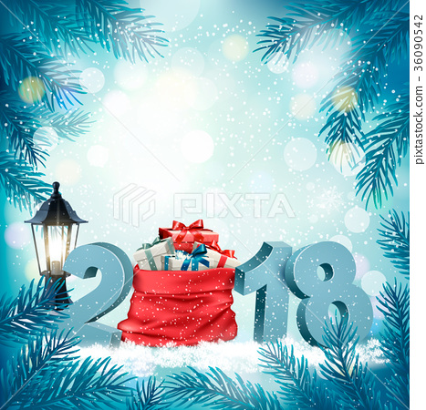 Christmas holiday background with 2018  36090542