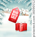 Christmas background with a sale tag 36090552