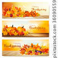Happy Thanksgiving banners with vegetables 36090559
