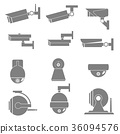 Security CCTV camera icons catalogue., Vector 36094576