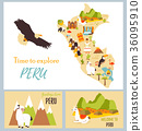Set of tourist cards of Peru with landmarks. 36095910