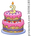 Birthday cake image for 3 years old 36096180