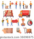 Courier Delivery Orthogonal Icons Set 36096975