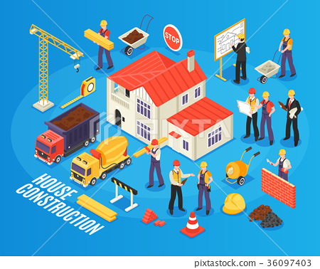 Isometric House Building Composition 36097403