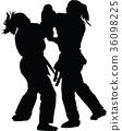 karate girl silhouette 36098225