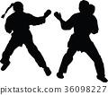 karate girl silhouette 36098227