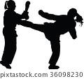 fight, kick, silhouette 36098230