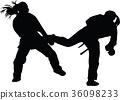fight, kick, silhouette 36098233