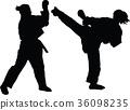 fight, kick, silhouette 36098235