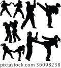 fight, kick, silhouette 36098238