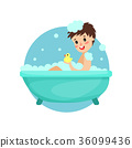 Girl taking bath in foam and soap, woman caring 36099436