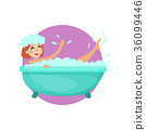 Girl taking a bubble bath in a vintage bathtub 36099446